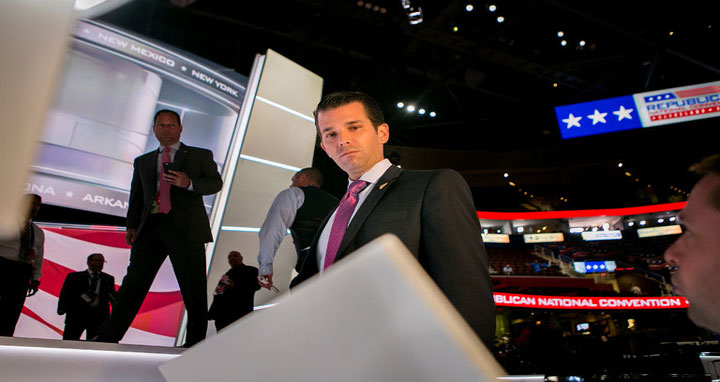 Donald Trump Jr. speaking to members of the media at the Republican National Convention.CreditSam Hodgson for The New York Times