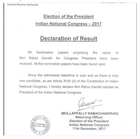 Rahul Gandhi elected Congress President