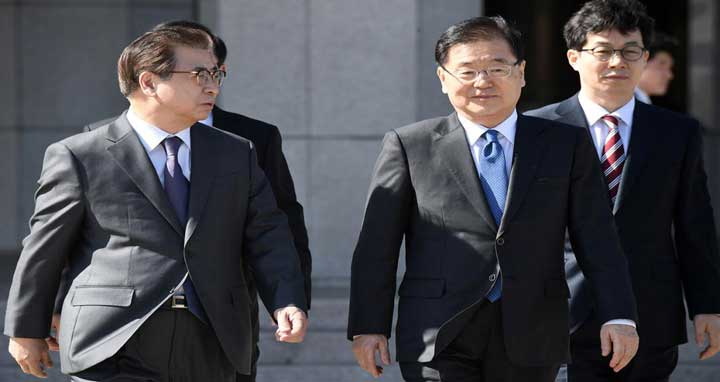 Chung Eui-yong, head of the presidential National Security Office, and Suh Hoon, chief of the South's National Intelligence Service, talk before boarding an aircraft as they leave for Pyongyang at a military airport in Seongnam, south of Seoul, South Korea March 5, 2018. Photo: Reuters