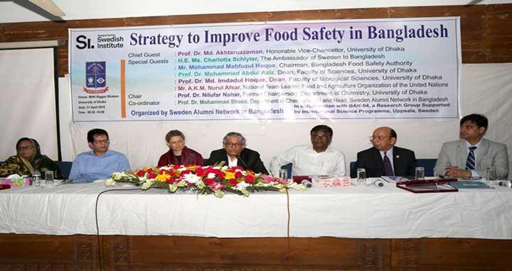 Speakers at the inaugural ceremony of a seminar titled 'Strategy to Improve Food Safety in Bangladesh' at MHK Biggan Bhaban of Dhaka University on on Saturday. Photo: Priyanka Kundu/UNB