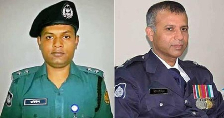 Slain DB AC Md Rabiul Islam and Banani Police Station OC Md Salahuddin Khan. File photo