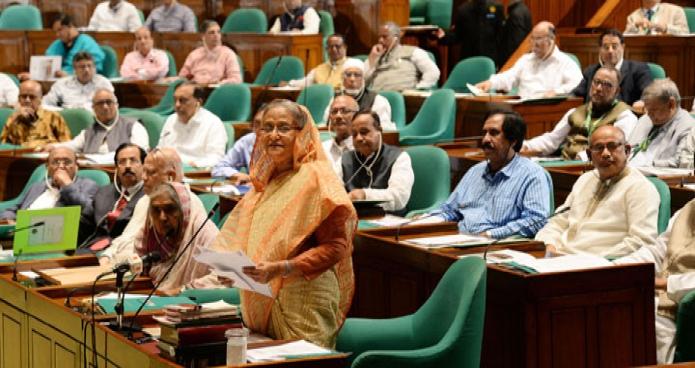 প্রধানমন্ত্রী শেখ হাসিনা বুধবার ঢাকায় জাতীয় সংসদে ২০১৮-১৯ অর্থ বছরের অর্থ বাজেটের ওপর বক্তব্য রাখেন-এবিনিউজ