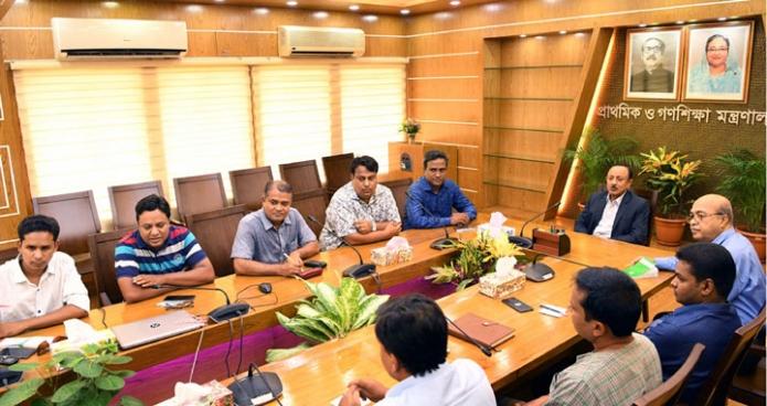 বুধবার প্রাথমিক ও গণশিক্ষা মন্ত্রী মোস্তাফিজুর রহমানের সাথে মন্ত্রণালয়ের সম্মেলনকক্ষে Education Reporters Association of Bangladesh এর নবনির্বাচিত কার্যনির্বাহী পরিষদের সদস্যবৃন্দ সাক্ষাৎ করেন-এবিনিউজ