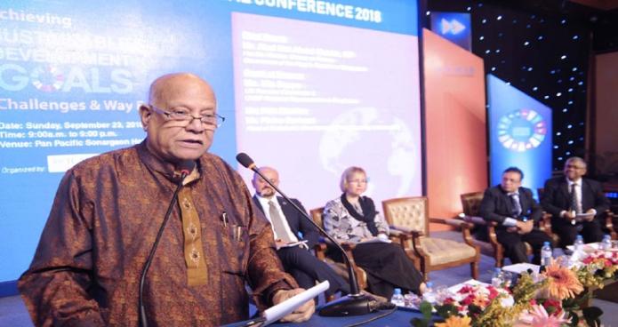 রািবার অর্থমমন্ত্রী আবুল মাল আবদুল মুহিত হোটেল সোনারগাঁয়ে ICMAB International Conferenc-2018  উপলক্ষে আয়োজিত অনুষ্ঠানে প্রধান অতিথির বক্তব্য রাখেন-এবিনিউজ