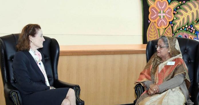 বুধবার প্রধানমন্ত্রী শেখ হাসিনা জাতিসংঘ সদরদপ্তরে ইউনিসেফ এর নির্বাহী পরিচালক Henrietta Fore সাক্ষাৎ করেন-এবিনিউজ