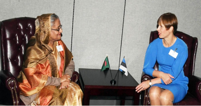 বুধবার প্রধানমন্ত্রী শেখ হাসিনা জাতিসংঘ সদরদপ্তরে এস্তোনিয়ার রাষ্ট্রপতি Kersti Kaljulaid  এর সাথে বৈঠক করেন-এবিনিউজ