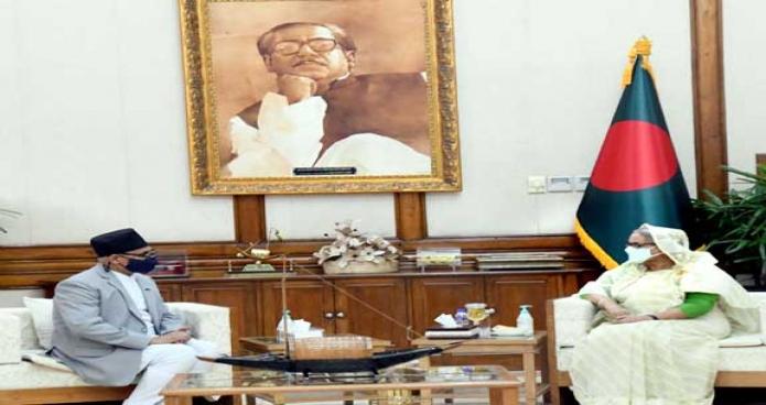 রবিবার প্রধানমন্ত্রী শেখ হাসিনার সাথে গণভবনে বাংলাদেশে নেপালের রাষ্ট্রদূত 'Dr. Banshidhar Mishra' বিদায়ি সাক্ষাৎ করেন -পিআইডি