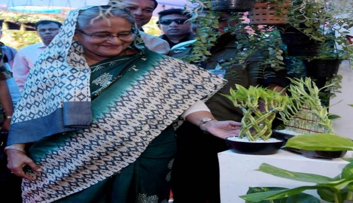 প্রধানমন্ত্রী শেখ হাসিনা বুধবার ঢাকায় বাণিজ্য মেলার মাঠে আয়োজিত বৃক্ষমেলায় বিভিন্ন স্টল ঘুরে দেখেন -এবিনিউজ