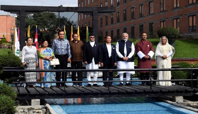 শুক্রবার নেপালের কাঠমান্ডুতে হোটেল সোয়ালটি ক্রাউন প্লাজায় BIMSTEC Leaders Retreat  সেশনে প্রধানমন্ত্রী শেখ হাসিনা এবং অন্য দেশের রাষ্ট্র ও সরকার প্রধানগণ-এবিনিউজ
