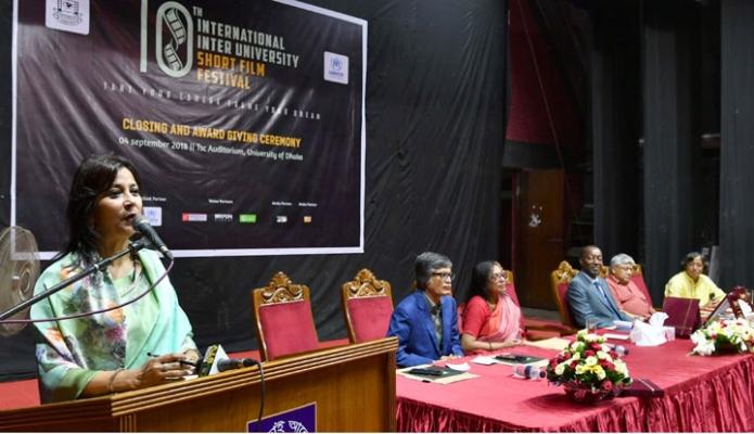 মঙ্গলবার ঢাকায় তথ্য প্রতিমন্ত্রী তারানা হালিম ঢাকা বিশ্ববিদ্যালয়ে ১০ম আন্তর্জাতিক আন্ত: বিশ্ববিদ্যালয় স্বল্পদৈর্ঘ্য চলচ্চিত্র উৎসরের সমাপনী অনুষ্ঠানে বক্তব্য দেন-এবিনিউজ