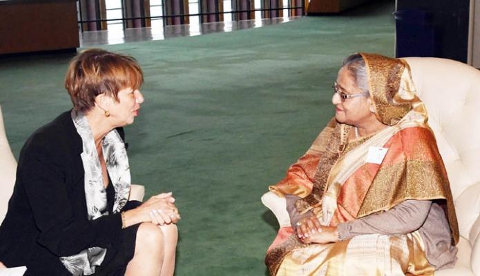 বুধবার প্রধানমন্ত্রী শেখ হাসিনা জাতিসংঘ সদরদপ্তরে EU এর Foreign Affairs and Security Policy বিষয়ক উচ্চ পর্যায়ের প্রতিনিধি Fwderica Mogh erini  সাক্ষাৎ করেন-এবিনিউজ