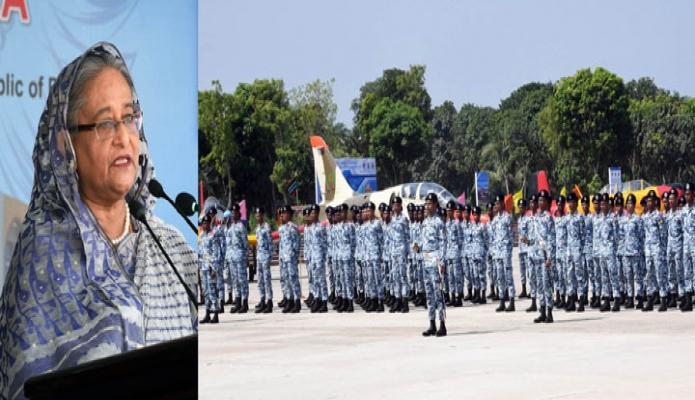 বৃহস্পতিবার প্রধানমন্ত্রী শেখ হাসিনা যশোরে বাংলাদেশ বিমান বাহিনী একাডেমিতে বঙ্গবন্ধু কমপ্লেক্সের উদ্বোধন অনুষ্ঠানে বক্ততৃা করেন-এবিনিউজ