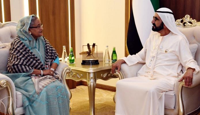 সোমবার প্রধানমন্ত্রী শেখ হাসিনার সাথে আবুধাবির National Exhibition Centre (ADNEC) -এ সংযুক্ত আরব আমিরাতের ভাইস প্রেসিডেন্ট ও প্রধানমন্ত্রী Sheikh Mohammed bin Rashed Maktoum বৈঠক করেন -পিআইডি