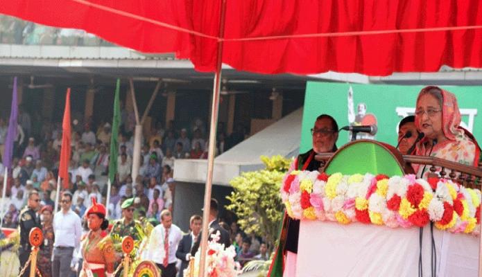 মঙ্গলবার প্রধানমন্ত্রী শেখ হাসিনা মহান স্বাধীনতা ও জাতীয় দিবসে ঢাকায় বঙ্গবন্ধু জাতীয় স্টেডিয়ামে শিশু-কিশোরদের সমাবেশ ও কুচকাওয়াজ অনুষ্ঠানে ভাষণ দেন-পিআইডি