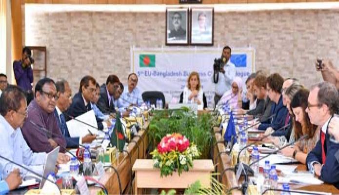 রবিবার বাণিজ্য মন্ত্রণালয়ের সম্মেলন কক্ষে ! 5th EU-Bangladesh Business Climate Dialogue! এ বাংলাদেশ প্রতিনিধিদলের নেতৃত্ব দেন বাণিজ্যমন্ত্রী টিপু মুনশি -পিআইডি