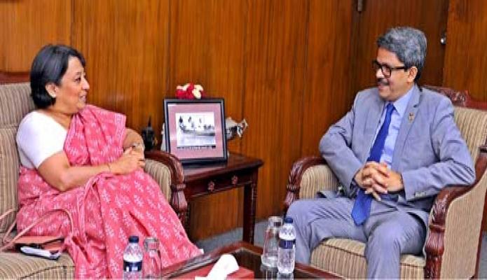 মঙ্গলবার পররাষ্ট্র প্রতিমন্ত্রী মোঃ শাহরিয়ার আলমের সাথে তার অফিসকক্ষে ভারতের হাইকমিশনার রীভা গাঙ্গুলী সাক্ষাৎ করেন -পিআইডি