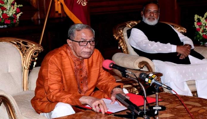 সোমবার রাষ্ট্রপতি মোঃ আবদুল হামিদ ঢাকায় বঙ্গভবনে বুদ্ধ পূর্ণিমা উপলক্ষে বৌদ্ধ সম্প্রদায়ের উদ্দেশে শুভেচ্ছা বক্তৃতা প্রদান করেন -পিআইডি