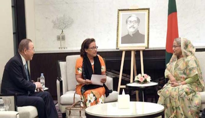 বুধবার প্রধানমন্ত্রী শেখ হাসিনার সাথে ঢাকায় একটি হোটেলে মার্শাল দীপপুঞ্জের রাষ্ট্রপতি Dr. Hilda C. Heine এবং জাতিসংঘের সাবেক মহাসবিচ বান কি মুন  সাক্ষাৎ করেন-পিআইডি