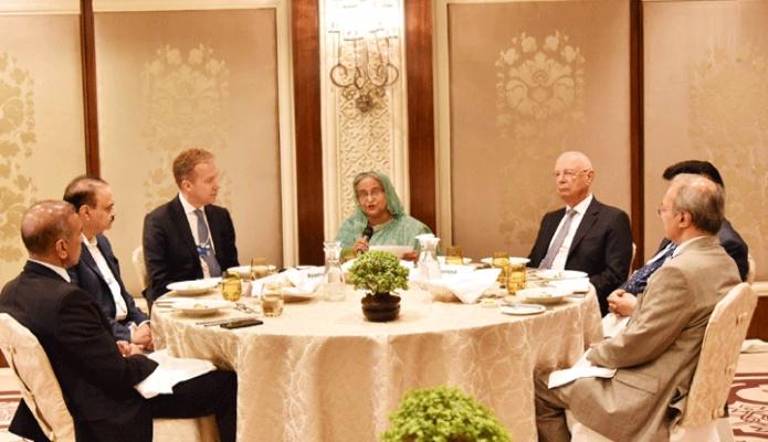 বৃহস্পতিবার প্রধানমন্ত্রী শেখ হাসিনা নয়াদিল্লীর হোটেল তাজ প্যালেসে বিশ্বঅর্থ নৈতিক ফোরাম (ডব্লিউইএফ) আয়োজিত ইন্ডিয়া ইকোনমিক সামিটের Country Straegy Dialogue on Bangladesh-এ অংশ গ্রহণ করেন -পিআইডি