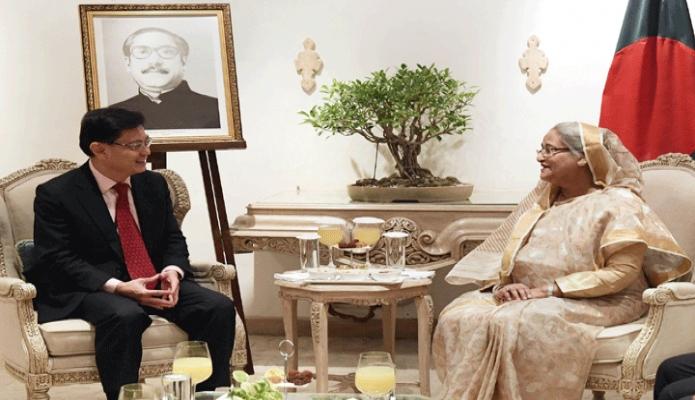শুক্রবার প্রধানমন্ত্রী শেখ হাসিনার সাথে নয়াদিল্লীতে তাঁর আবাসস্থল হোটেল তাজমহলে সিঙ্গাপুরের উপ-প্রধানমন্ত্রী Heng Swee Keat  সাক্ষাৎ করেন -পিআইডি