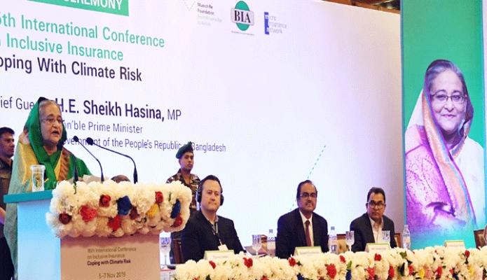 মঙ্গলবার প্রধানমন্ত্রী শেখ হাসিনা ঢাকায় হোটেল সোনারগাঁওয়ে Inclusive Insurance  বিষয় ১৫তম আন্তর্জাতিক সম্মেলনের উদ্বোধনী অনুষ্ঠানে বক্তৃতা করেন –পিআইডি