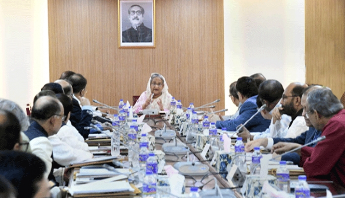 সোমবার প্রধানমন্ত্রী শেখ হাসিনা ঢাকায় বাংলাদেশ সচিবালয়ে মন্ত্রিপরিষদ বৈঠকে সভাপতিত্ব করেন -পিআইডি