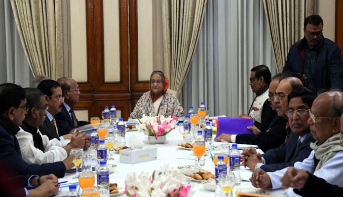 শনিবার প্রধানমন্ত্রী শেখ হাসিনা ঢাকায় গণভবনে স্থানীয় সরকার নির্বাচন মনোনয়ন বোর্ডের সভায় সভাপতিত্ব করেন -পিআইডি