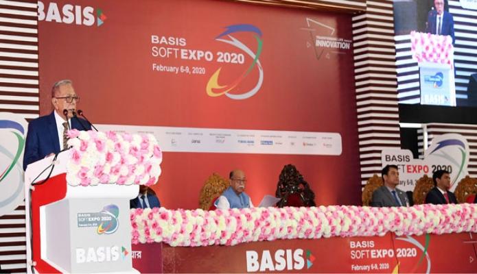 বৃহস্পতিবার রাষ্ট্রপতি মোঃ আবদুল হামিদ ঢাকায় বসুন্ধরা আন্তর্জাতিক কনভেনশন সিটিতে 'বেসিস সফটএক্সপো ২০২০' এর উদ্বোধন অনুষ্ঠানে ভাষণ দেন -পিআইডি