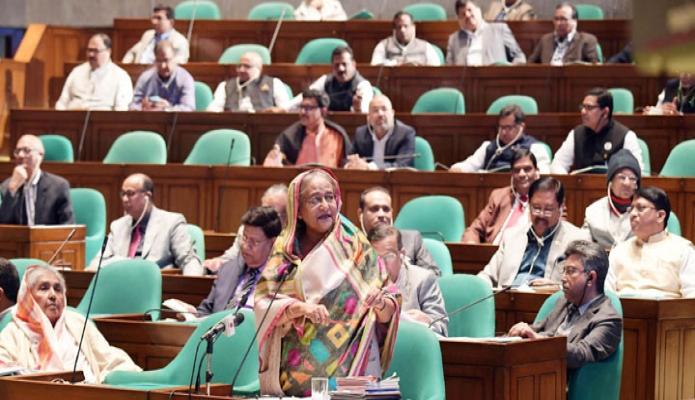 বুধবার প্রধানমন্ত্রী শেখ হাসিনা ঢাকায় একাদশ জাতীয় সংসদের ৬ষ্ট অধিবেশনে প্রশ্নোত্তর পর্বে বক্তব্য রাখেন -পিআইডি