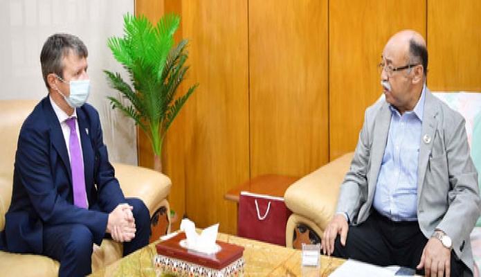 রবিবার শিল্পমন্ত্রী নূরুল মজিদ মাহমুদ হুমায়ূনের সাথে তাঁর অফিস কক্ষে নরওয়ের রাষ্ট্রদূত এসপেন রিকটার-ভেন্ডসেন সাক্ষাৎ করেন -পিআইডি