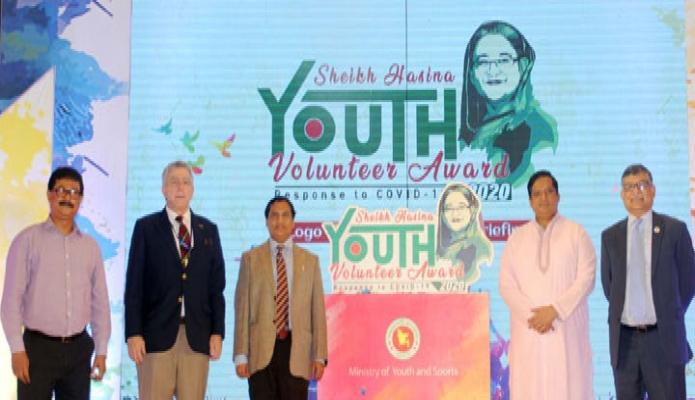 সেমাবার  যুব ও ক্রীড়া প্রতিমন্ত্রী জাহিদ আহসান রাসেল ঢাকায় জাতীয় ক্রীড়া পরিষদ সম্মেলন কক্ষে ''Sheikh Hasina Youth Volunteer Award 2020,, এর লোগো উন্মোচন করেন -পিআইডি
