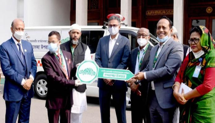মঙ্গলবার প্রধানমন্ত্রীর মুখ্যসচিব ড. আহমদ কায়কাউস এর কাছে বারভিডা প্রধানমন্ত্রীর আত্মমানবতামূলক কার্যক্রম অ্যাম্বলেন্স প্রদান করেন -পিআইডি