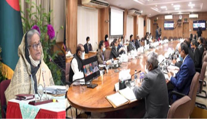 সোমবার প্রধানমন্ত্রী শেখ হাসিনা গণভবন থেকে ভিডিও কনফারেন্সের মাধ্যমে বাংলাদেশ সচিবালয়ে অনুষ্ঠিত মন্ত্রিপরিষদ সভায় সভাপতিত্ব করেন -পিআইডি