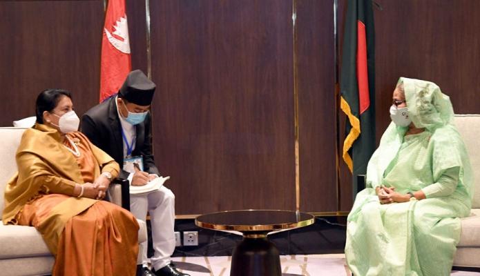 সোমবার প্রধানমন্ত্রী শেখ হাসিনা নেপালের রাষ্ট্রপতি বিদ্যা দেবী ভান্ডারির সাথে ঢাকায় হোটেল ইন্টারকন্টিনেন্টালে সাক্ষাৎ করেন -পিআইডি