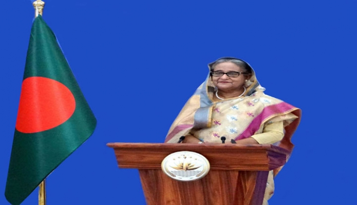 Prime Minister Sheikh Hasina gives a recorded welcome message at the launching of the US-Bangladesh Business Council at USA  -PID