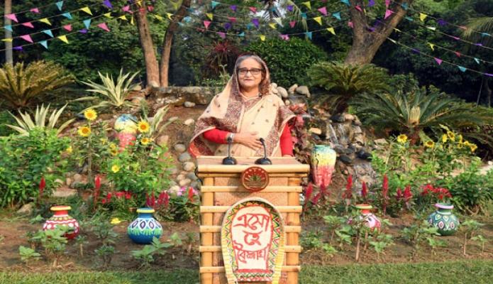 মঙ্গলবার প্রধানমন্ত্রী শেখ হাসিনা ঢাকায় গণভবন থেকে বাংলা নববর্ষ ১৪২৮ উপলক্ষে জাতির উদ্দেশে ভাষণ দেন -পিআইডি